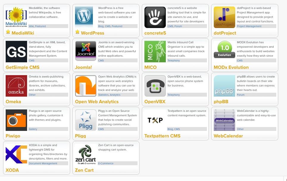 WordPress, Zen Cart MediaWiki, concrete5, dotProject getSimple CMS, Joombla, MICO, MODxEvolution Meka